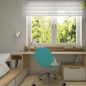 Детская со столом у окна: особенности зонирования, разные варианты установки мебели — 24 фото